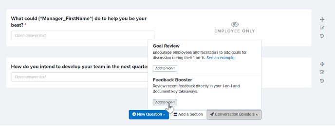 Admin adding Feedback booster to 1-on-1 template