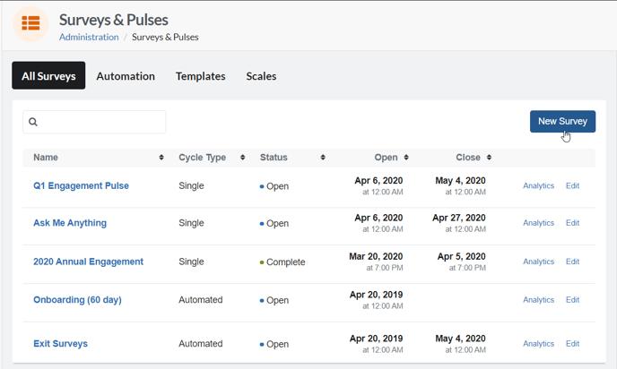 Click New Survey Surveys & Pulses Admin