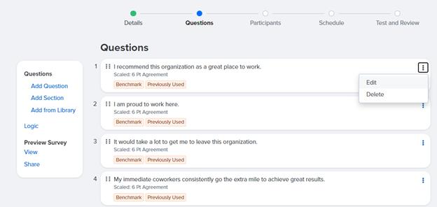 Editing a survey question