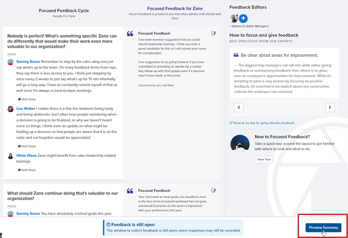 Focused Feedback Preview Summary button