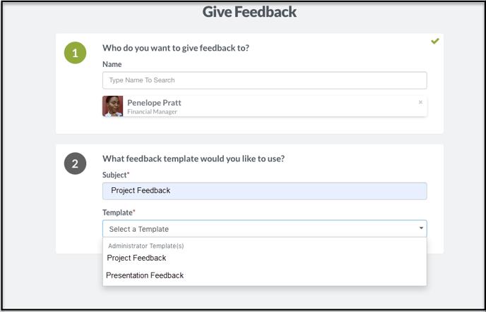 Give Feedback template selection-1