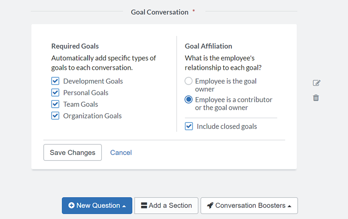 Goal Conversation Booster Configuration Options