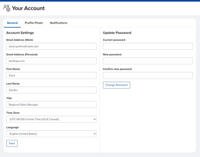 account settings - general
