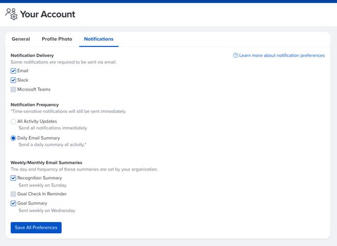 account settings - notifications