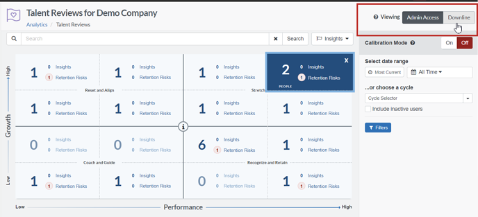 Talent Review analytics switching between Admin access and downline