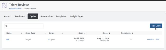 Talent Reviews cycle tab click New Cycle