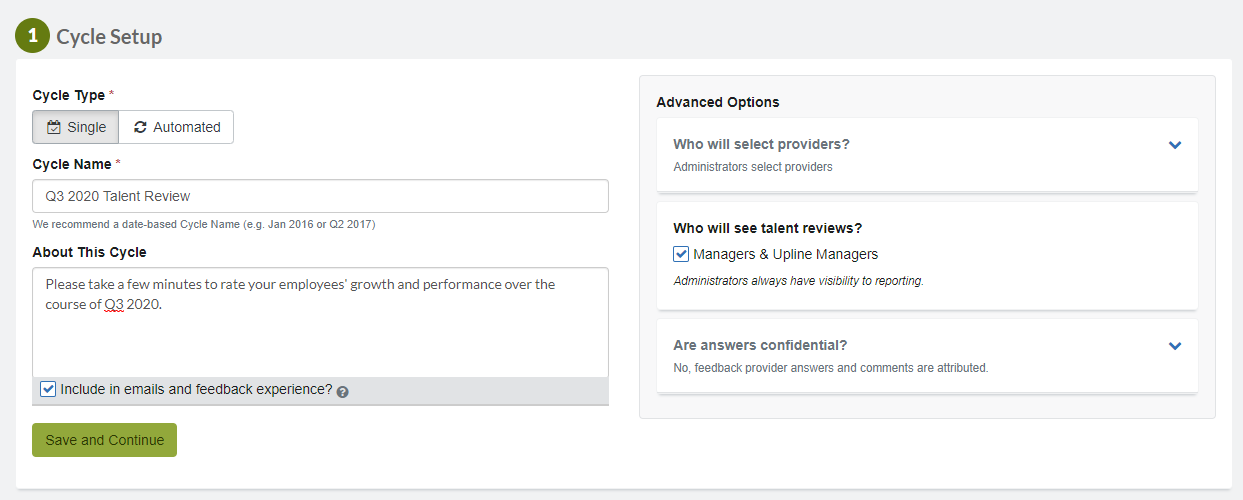 Talent review cycle set up 1 general settings