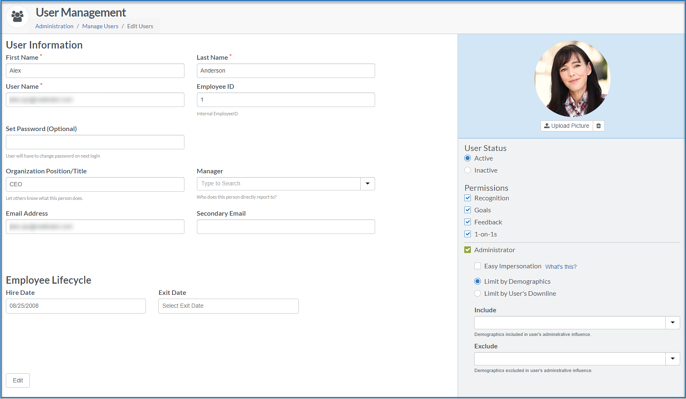 User Management Edit page