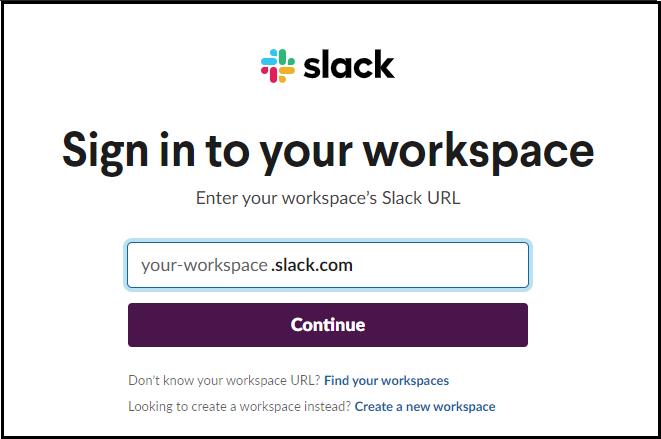 sign into slack workspace
