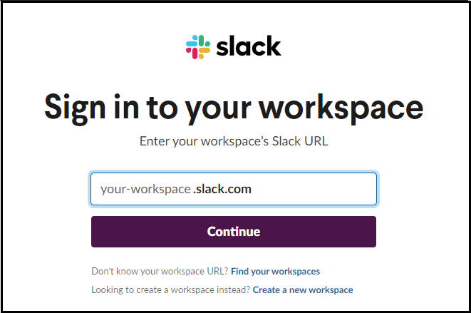 sign into slack workspace