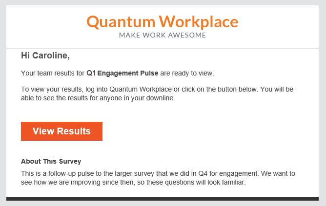 Q1 Engagement Pulse manager notification