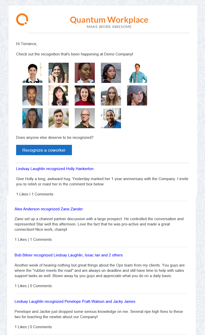 Recognition digest email